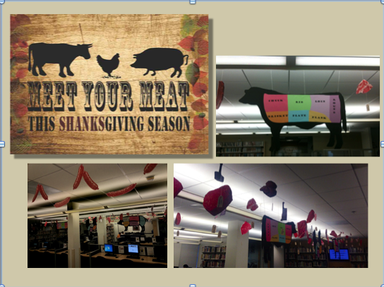 Sharon Tani's library display: Meet Your Meat
