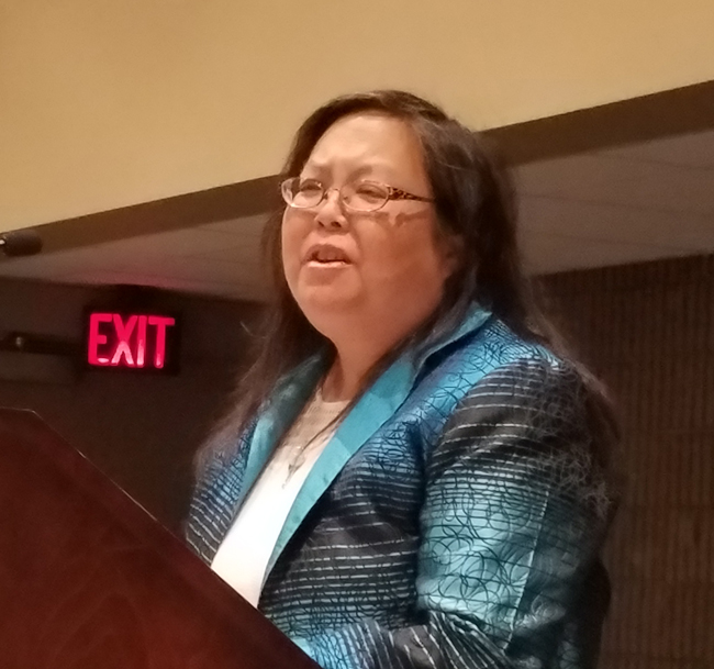 Patty Wong Speaking - Photo by George M. Eberhart