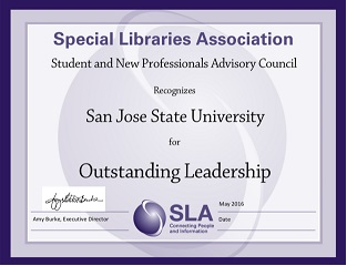 Special Libraries Association Recognizes SJSU for Outstanding Leadership