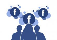 illustration depicting three silhouettes connecting with Facebook