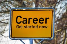 road sign that reads, Career, get started now