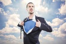 man in suit revealing super hero costume