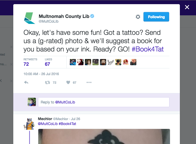 screenshot from Twitter of #book4tat tweet from Multnomah County Library