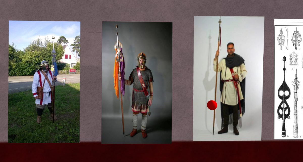 On a wall in Museums of Archaeology's Orbis Romanus simulation, SeverusAlexander is pictured left in real life, dressed for a historical re-enactment.