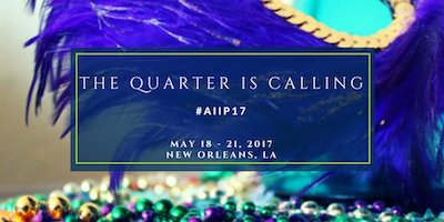 "logo for AIIP conference that says ""The Quarter is calling"""