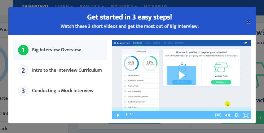 screenshot of Big Interview welcome screen