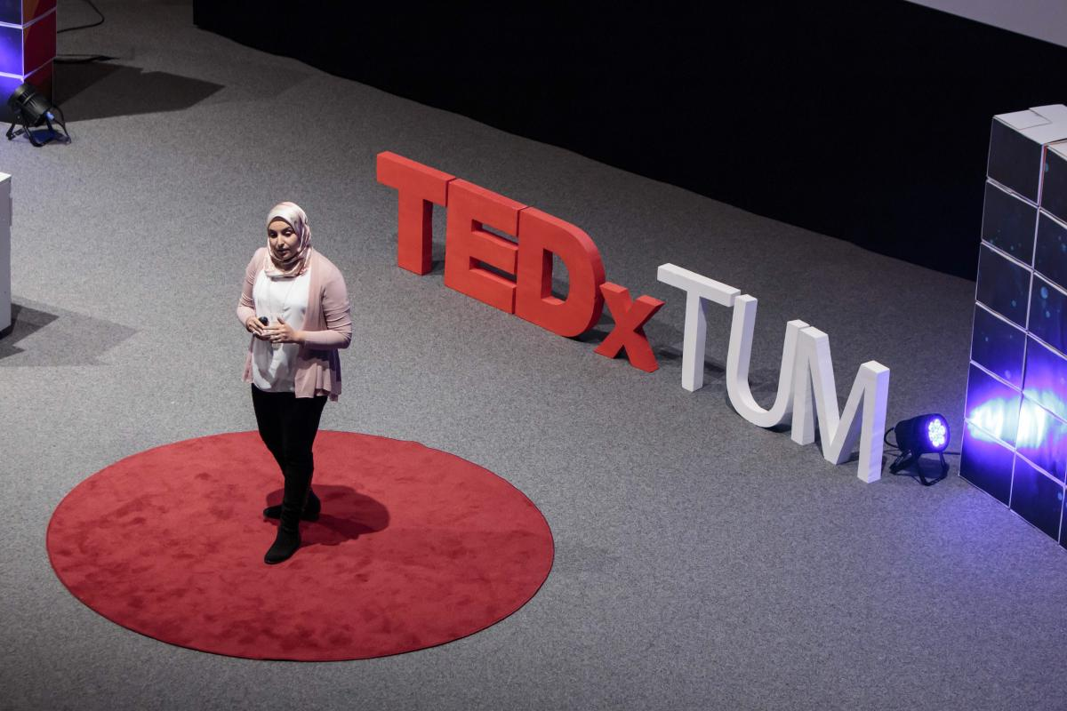 iSchool student Essraa Nawar giving a TEDx talk.