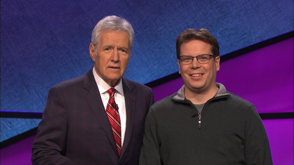 Adam Weissengruber with Alex Trebek during filming of his Jeopardy episode