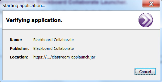 Collaborate Launcher Verification Window