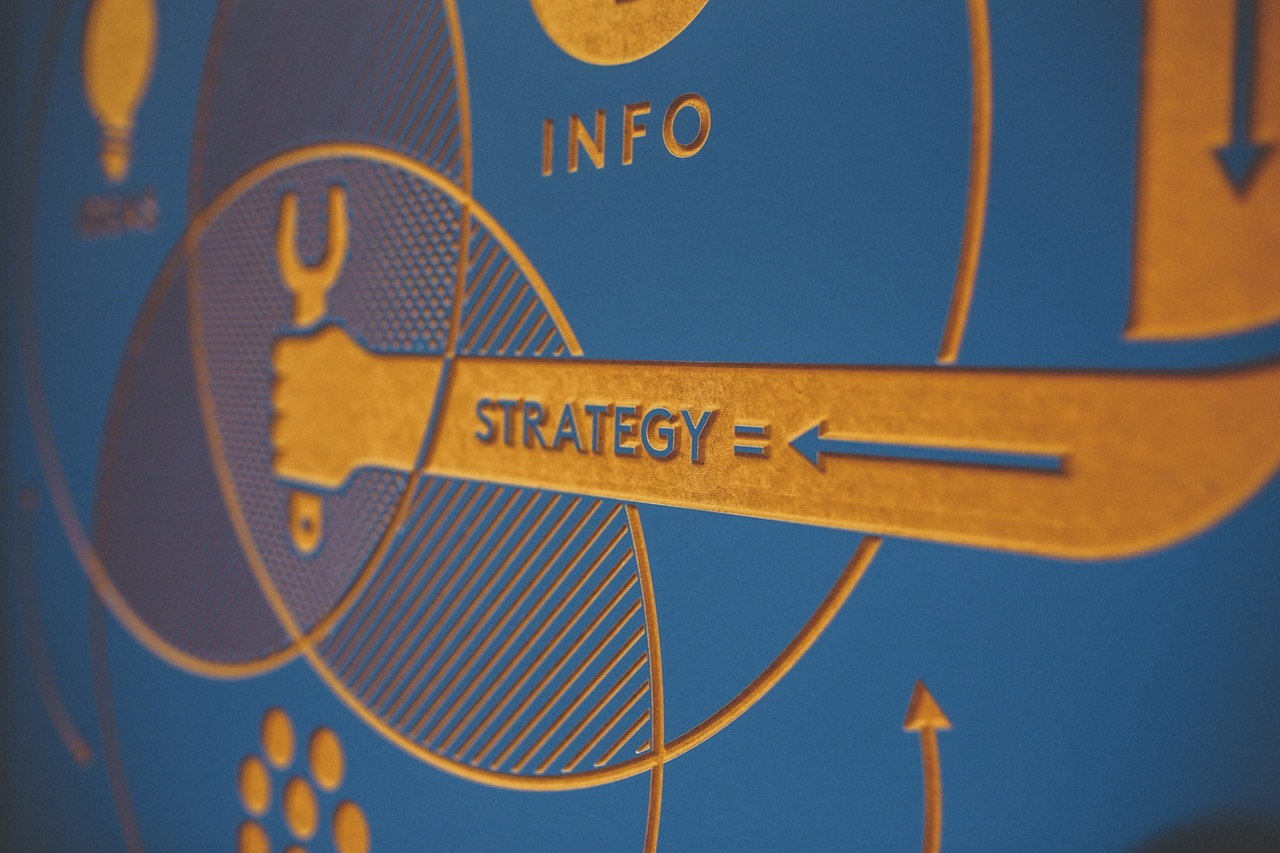 "photo of sign with the words ""info"" and ""strategy"""