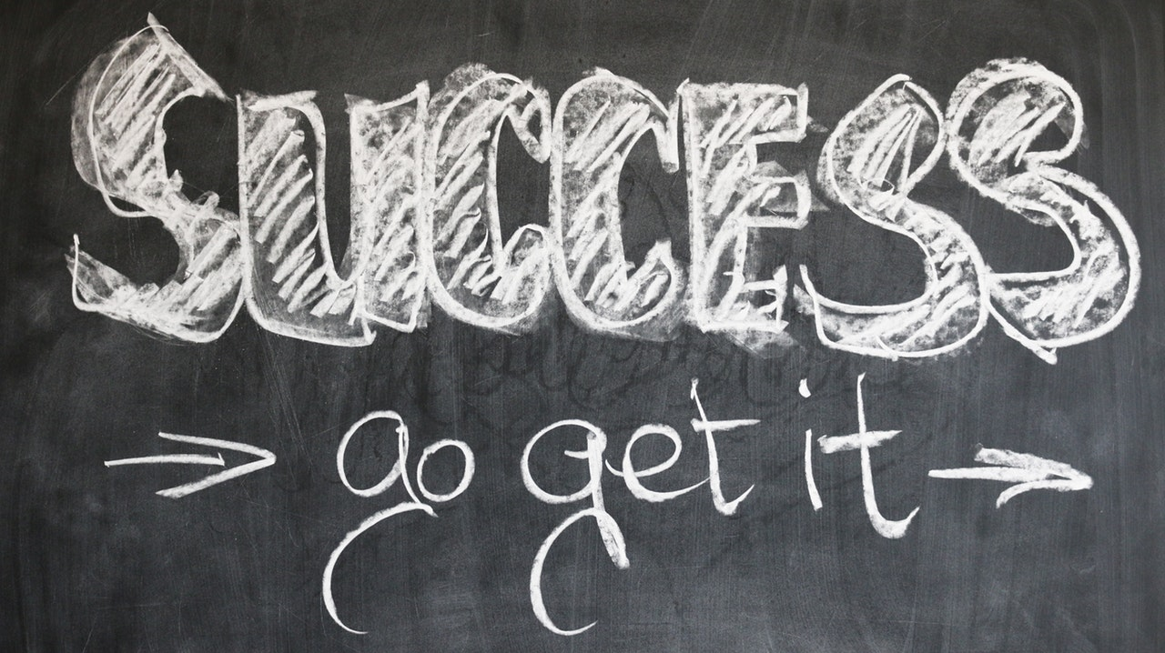 image of a chalkboard that reads, success. go get it.