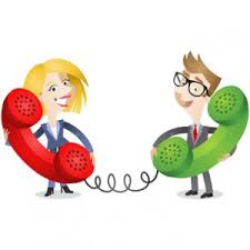 a cartoon man and woman  talking on the phone