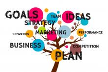 illustration of a tree with the following words: goals, strategy, team, ideas, innovation, marketing, performance, business, competition, plan