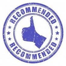 thumbs up symbol with text recommended