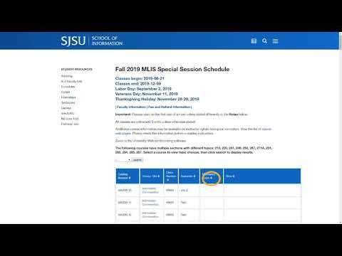 How to Search for Open Seats in Special Session in MySJSU