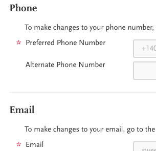 Phone and email information