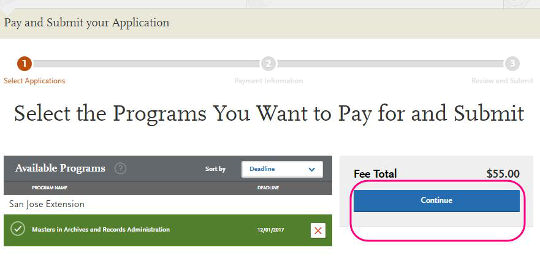 Select the program you want to pay for and submit