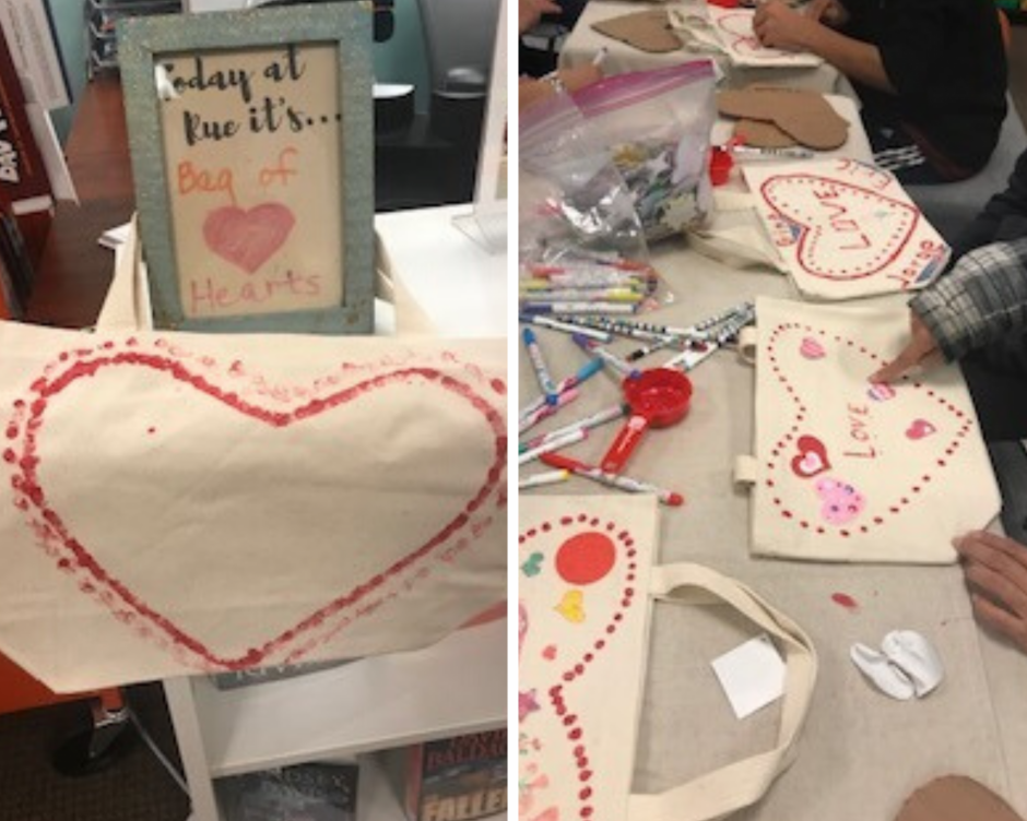 Two images of canvas bags being decorated.