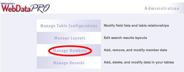 Manage Members Page