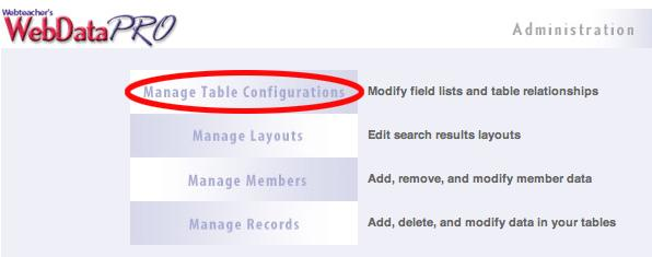 Manage Table Configurations Page