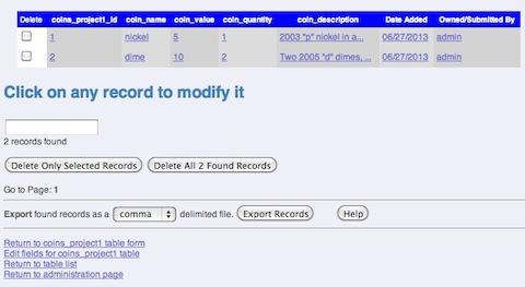 Modify Delete Records