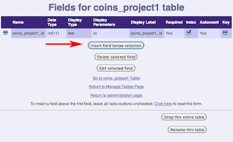 Modify Fields Page