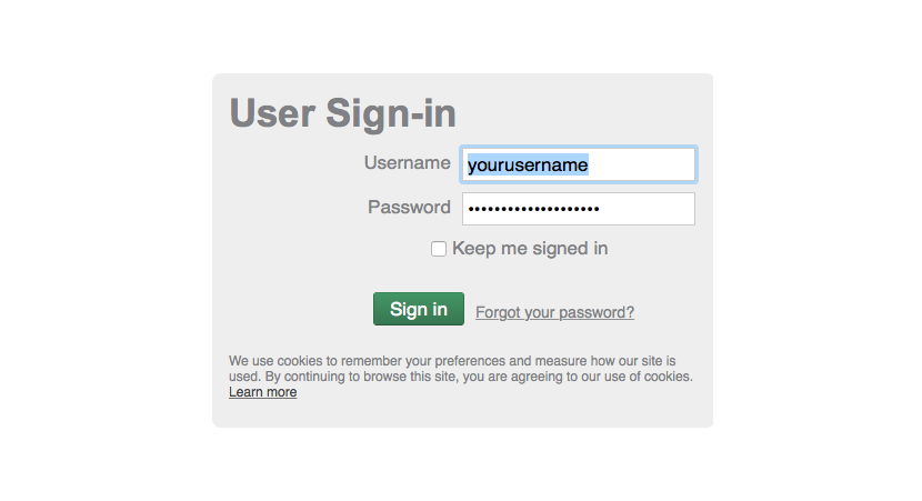 User Login Screenshot