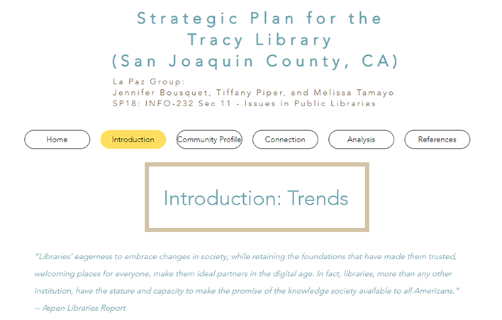 Strategic Plan for the Tracy Library