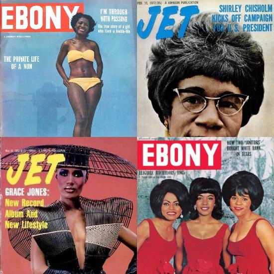 Ebony and Jet Magazines, historical covers.