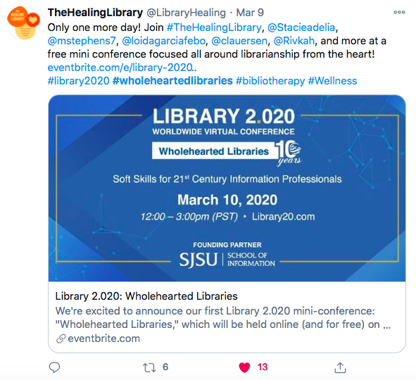 Tweet from Library 2.0 Conference